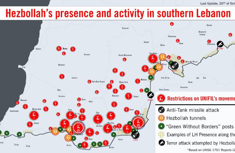 Erdan shows UNSC map of Hezbollah activity, demands immediate action