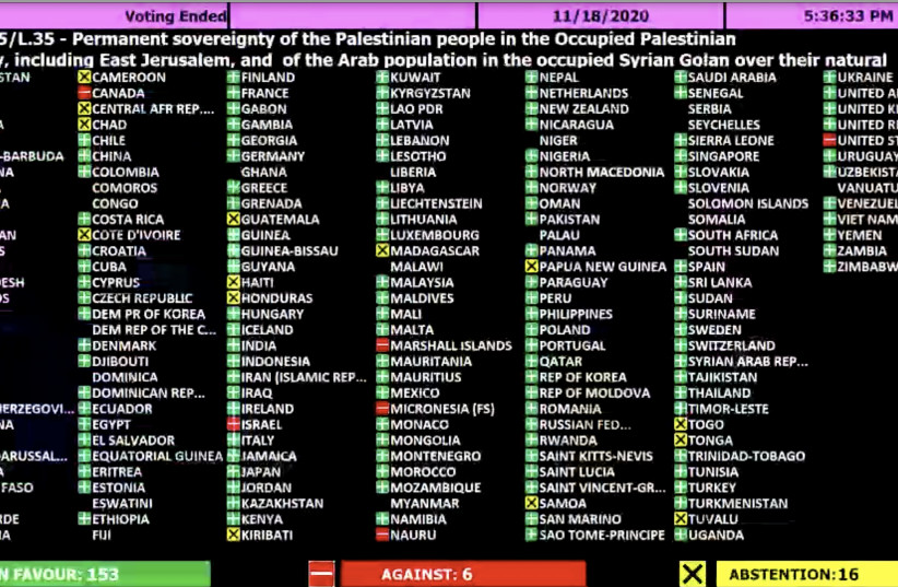 The results of the UN General Assembly's Second Committee vote on Palestinian sovereignty in East Jerusalem and the West Bank (photo credit: screenshot)