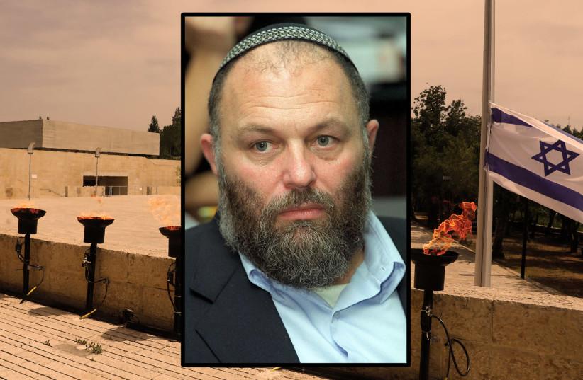 Effi Eitam in 2002; background Yad Vashem in 2020 (photo credit: GETTY IMAGES)