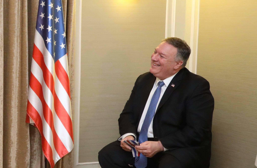 US Secretary of State Mike Pompeo speaks to The Jerusalem Post, November 20, 2020 (photo credit: MARC ISRAEL SELLEM/THE JERUSALEM POST)