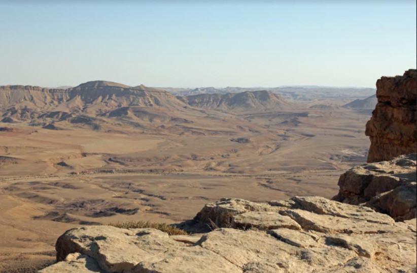 Ramon: The Ramon Crater in Israel's hot, dry Negev Desert. (photo credit: (EDUARD MARMET/ WIKIMEDIA COMMONS))
