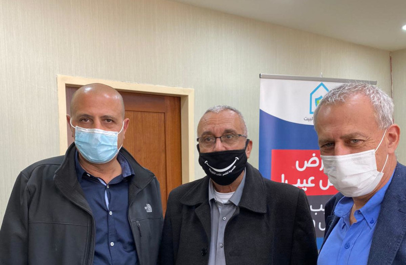 From left: Ayman Saif, Abdulbast Salameh and Nachman Ash (photo credit: HEALTH MINISTRY)