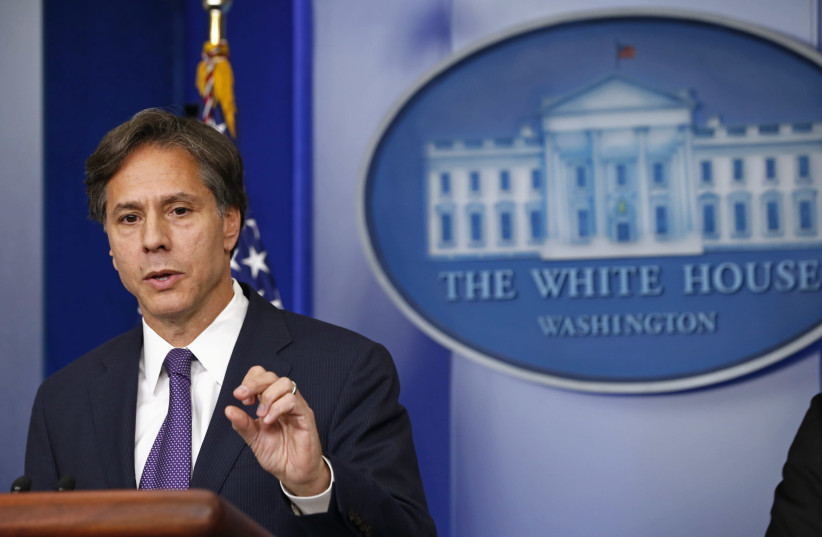 US Deputy National Security Advisor Tony Blinken speaks on Syria at the White House in Washington. September 9, 2013. (photo credit: REUTERS)