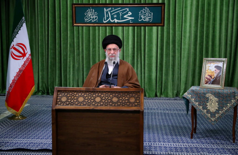 Iran's Supreme Leader Ayatollah Ali Khamenei delivers a virtual speech, on the occasion of the Prophet Mohammad's birthday, in Tehran, Iran November 3, 2020. (photo credit: OFFICIAL KHAMENEI WEBSITE/HANDOUT VIA REUTERS)