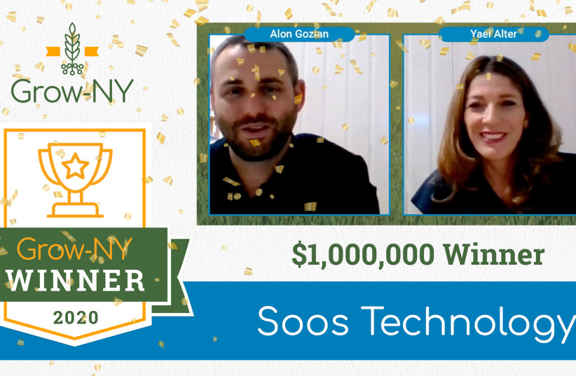 Founder and CEO Yael Alter, along with VP of Business Development Alon Gozlan receive the news that their start-up, Soos Technologies, has won the $1 million grand prize at the NY-Grow competition. (photo credit: SOOS TECHNOLOGIES)