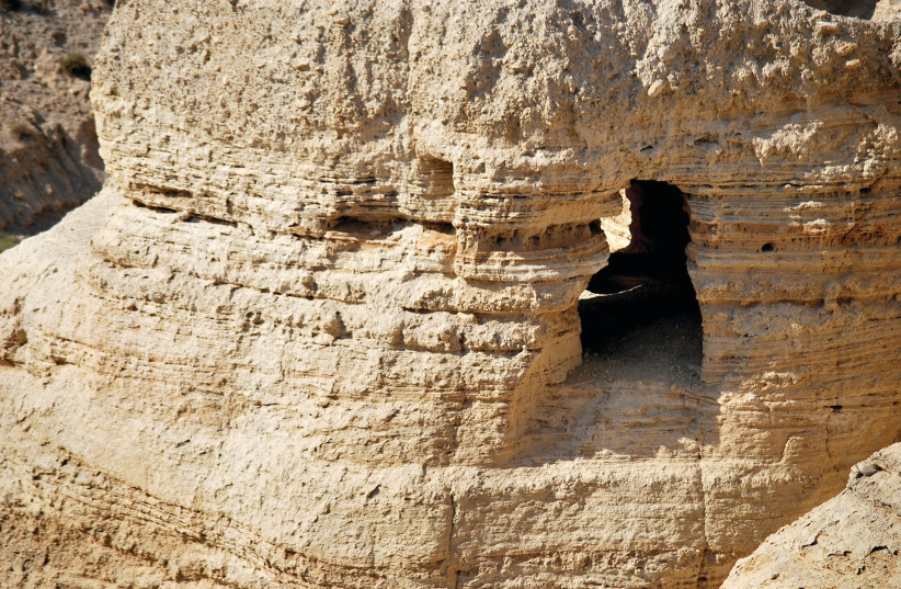 The site of the Qumran Scrolls, known as the Dead Sea Scrolls (photo credit: HADAR YAHAV)