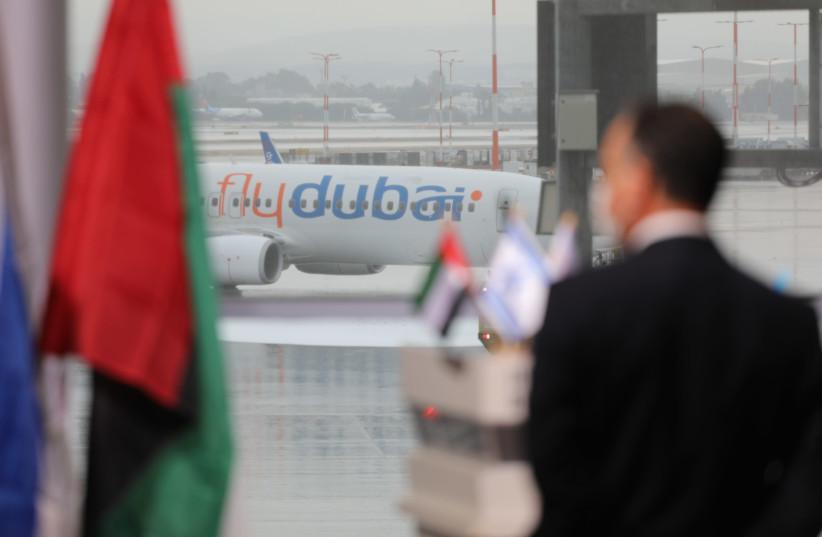 Flydubai flight to Israel from the UAE (photo credit: EMIL SALMAN/POOL)