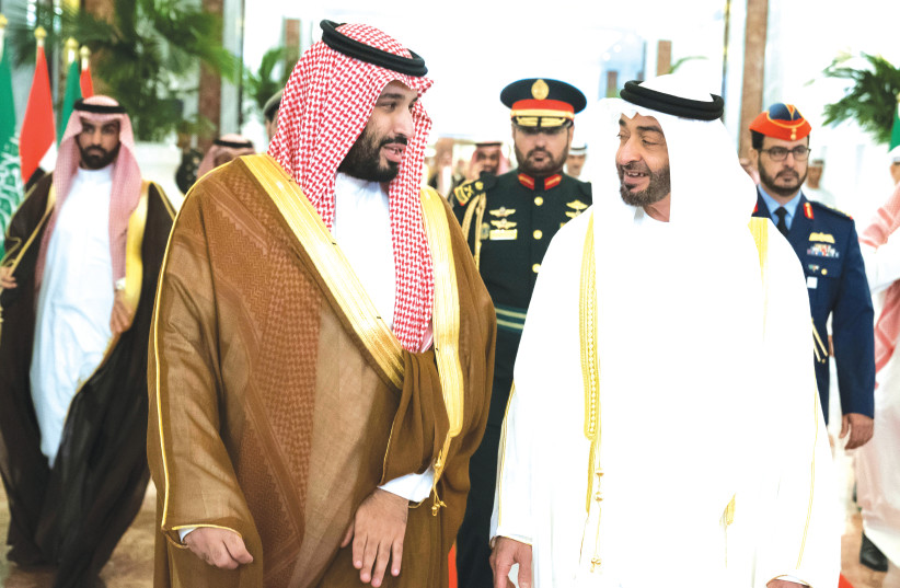 Prime Minister Benjamin Netanyahu finds allies in his fight against Iran. In Abu Dhabi, Crown Prince Sheikh Mohammed bin Zayed Al Nahyan (right) and in Saudi Arabia, Crown Prince Mohammed bin Salman. (photo credit: MARC ISRAEL SELLEM/THE JERUSALEM POST/REUTERS)