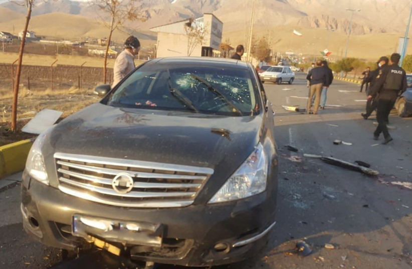 A view shows the scene of the attack that killed Prominent Iranian scientist Mohsen Fakhrizadeh, outside Tehran, Iran, November 27, 2020. (photo credit: WANA (WEST ASIA NEWS AGENCY) VIA REUTERS)
