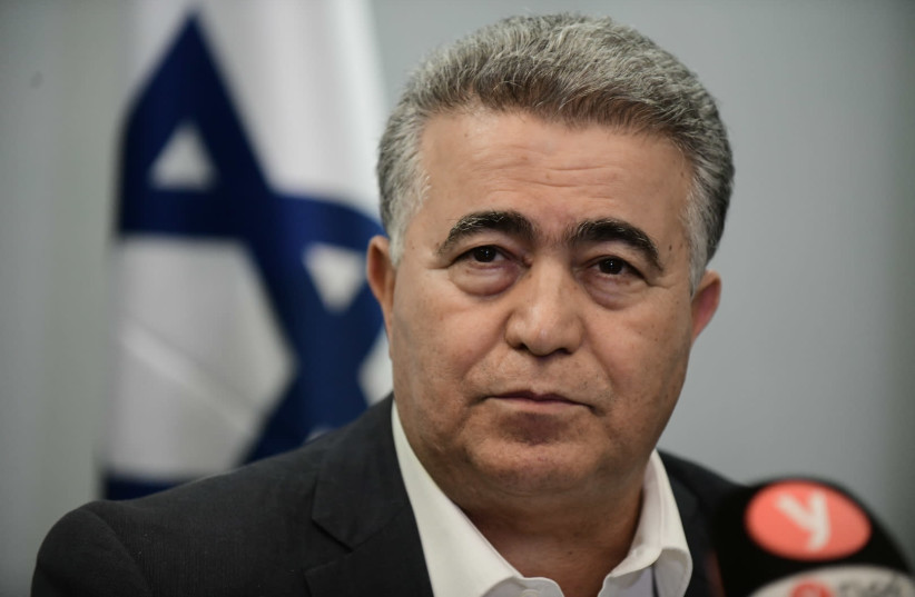 Chairman of the Labor party Amir Peretz seen during a press conference with Meretz leader Nitzan Horowitz and party members in Tel Aviv on March 12, 2020. (photo credit: TOMER NEUBERG/FLASH90)