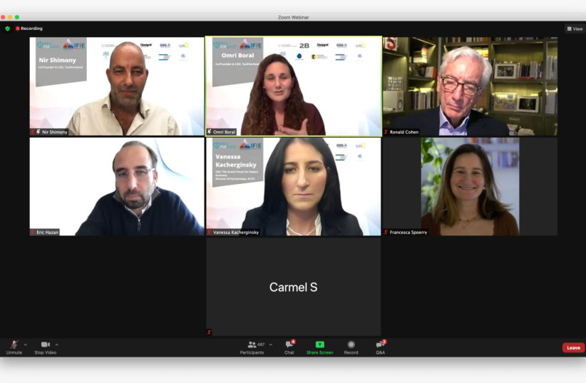 The online Israel Impact Economy Forum attracted more than one thousand interested parties from around the world.  Chairman of Global Steering Group (GSG) Sir Ronald Cohen can be seen at the right corner of the first row. (photo credit: Courtesy)
