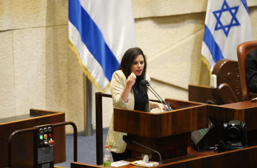 Yamina MK Ayelet Shaked is seen guesturing amid the preliminary vote to dissolve the Knesset on December 2, 2020. (photo credit: KNESSET SPOKESPERSON/DANI SHEM TOV)