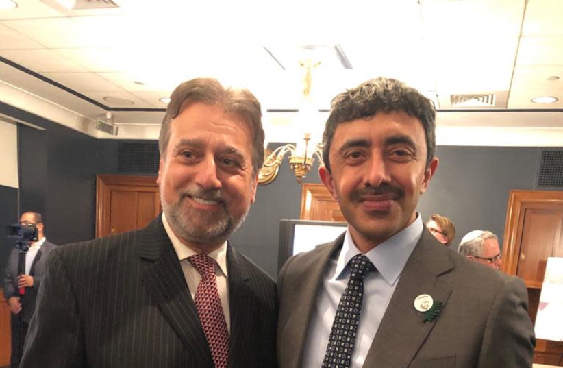 Rabbi Elie Abadie (L) with UAE Foreign Minister Abdullah bin Zayed Al Nahyan. (photo credit: Courtesy)