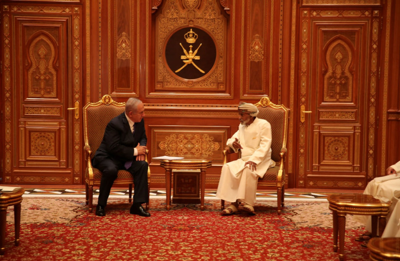Israeli Prime minister Benjamin Netanyahu meets Sultan Qaboos bin Said in this undated handout provided by the Israel Prime Minister Office, in Oman (photo credit: ISRAEL GPO/HANDOUT VIA REUTERS)