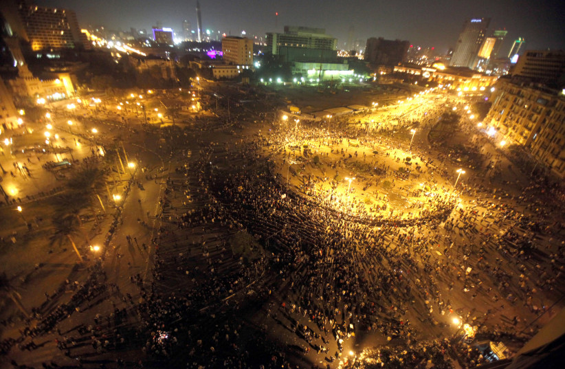 A general view shows Tahrir Square in Cairo as Egyptian riot policemen try to disperse protesters on November 20, 2011 (photo credit: MOHAMED ABD EL GHANY/ REUTERS)