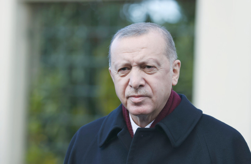TURKISH PRESIDENT Recep Tayyip Erdogan talks to media following the Friday prayers in Istanbul last week. (photo credit: REUTERS)