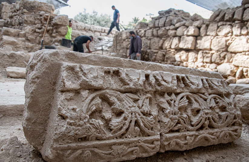 A 2000-year-old bath discovered alongside remains of a 1500-years-old Byzantine Church (photo credit: YOLI SHWARTZ ISRAEL ANTIQUITIES AUTHORITY)