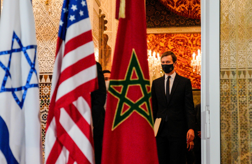 White House Senior Adviser Jared Kushner during a visit with Israeli delegation to Rabat, Morocco (photo credit: US EMBASSY IN MOROCCO/HANDOUT VIA REUTERS)