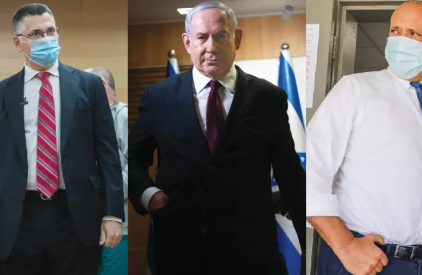 Gideon Sa'ar, Benjamin Netanyahu and Naftali Bennett: Potential candidates for prime minister in 2021. (photo credit: YONATAN SINDEL/FLASH 90 AND MARC ISRAEL SELLEM)