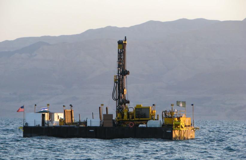 Drilling barge in the Dead Sea, 2010. (photo credit: TEL AVIV UNIVERSITY)