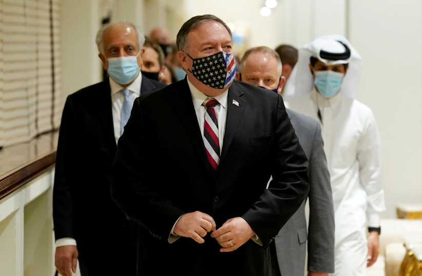 US SECRETARY OF State Mike Pompeo in Doha, Qatar (photo credit: PATRICK SEMANSKY/POOL VIA REUTERS)