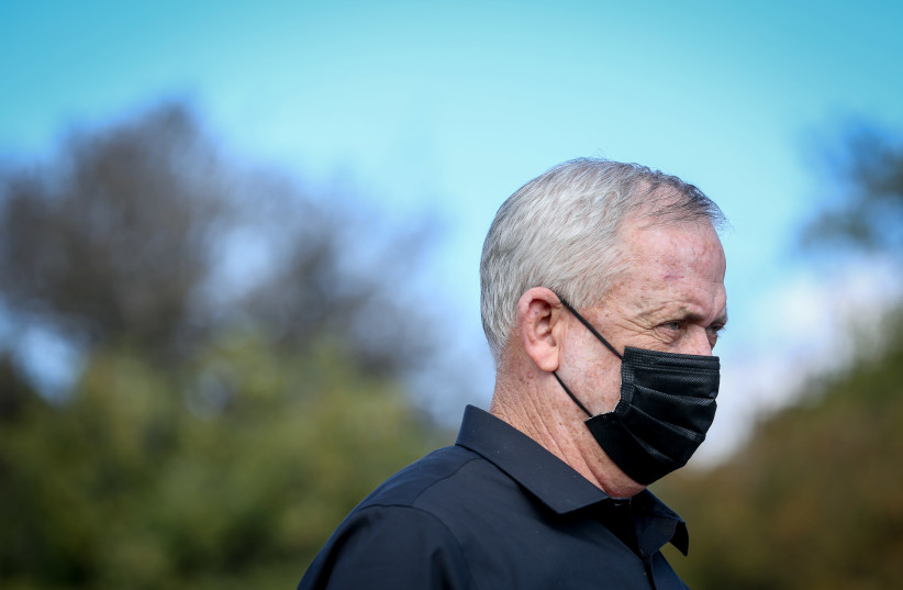 Alternate Prime Minister and Minister of Defense Benny Gantz seen during a visit on the Israel-Lebanon border, Northern Israel, on November 17, 2020. (photo credit: DAVID COHEN/FLASH 90)