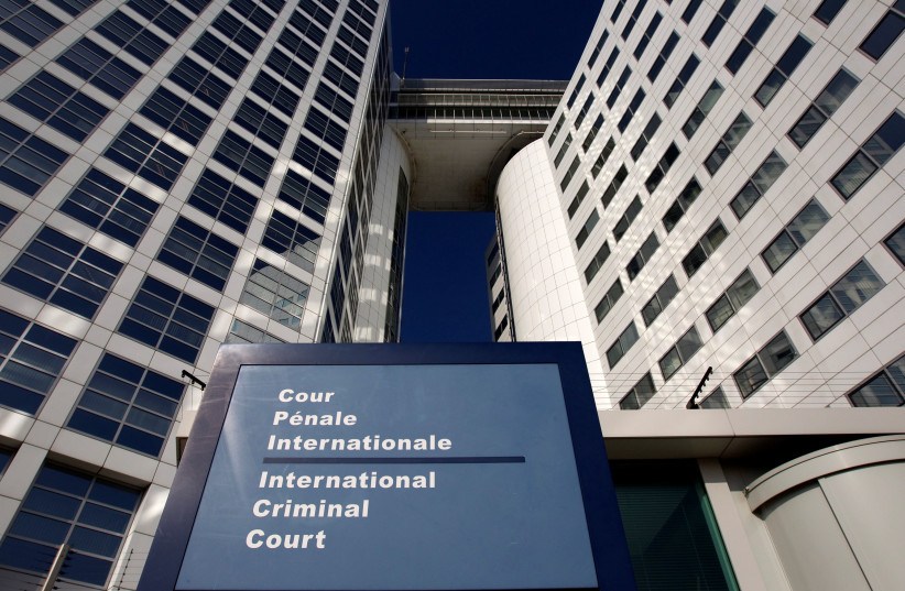 The entrance of the International Criminal Court (ICC) is seen in The Hague March 3, 2011. (photo credit: REUTERS/JERRY LAMPEN/FILE PHOTO)