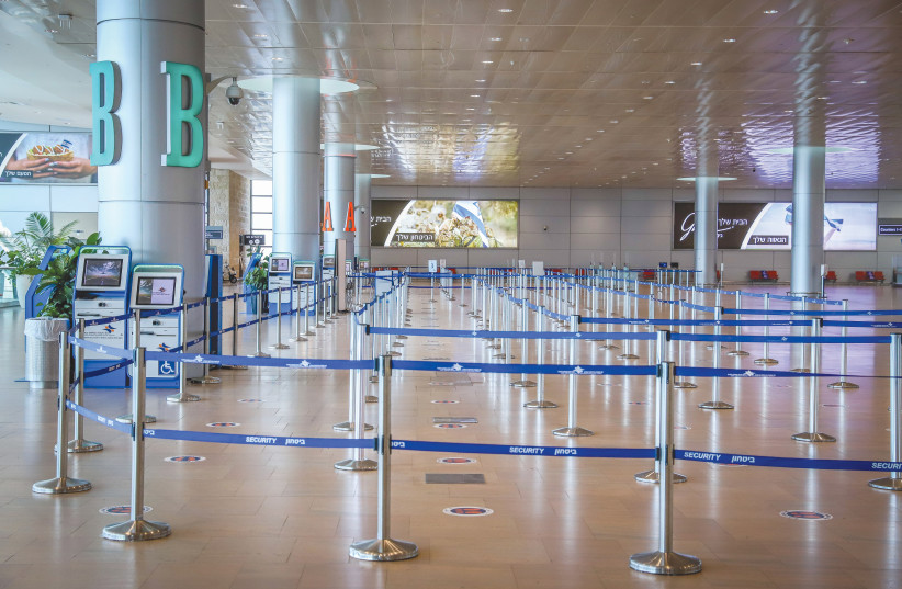 A view of the empty departure hall at Ben-Gurion Airport in November. (photo credit: YOSSI ALONI/FLASH90)