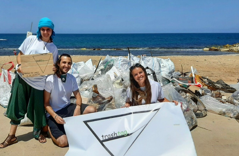 "The TrashTag founders Enrique Feinholz, Michelle Pompas and Ariela Milstein taking part in the ""Biggest clean-up day"" on October 30th  photo credit: (Enrique Feinholz)"