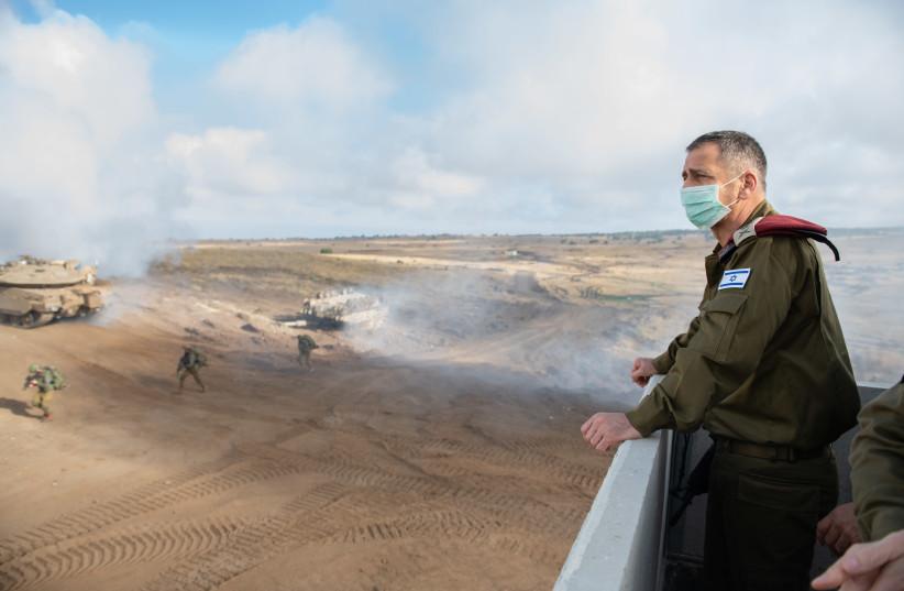 IDF Chief of Staff Aviv Kochavi overlooks a military exercise (photo credit: IDF SPOKESPERSON'S UNIT)