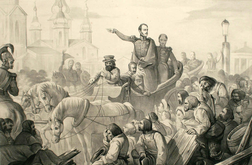 A DRAWING OF Nicholas I of Russia quelling a riot on the Sennaya Square in 1831 during civil disturbances associated with an outbreak of the cholera epidemic.  (photo credit: Wikimedia Commons)
