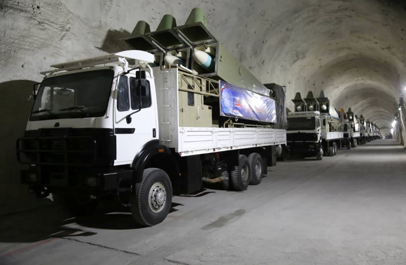 Missiles are seen at an underground missile site of Iran's Revolutionary Guards at an undisclosed location in the Gulf (photo credit: REUTERS)
