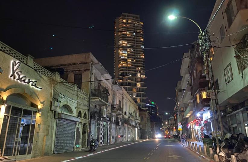 Tel Aviv during Israel's third nationwide lockdown, January 8, 2020. (photo credit: SASSONI AVSHALOM)