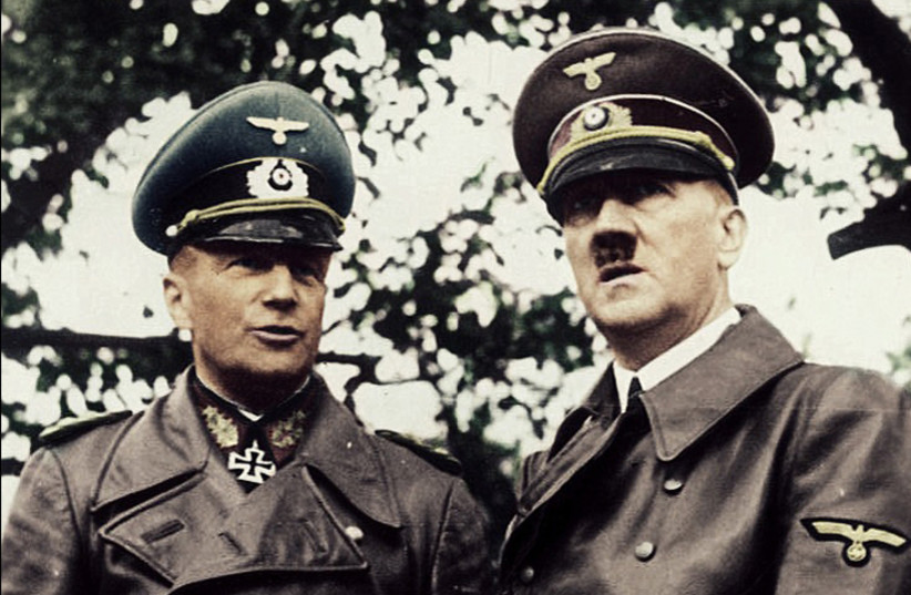 Adolf Hitler (R) with Commander-in-Chief of the German Army Walther von Brauchitsch, Warsaw, October 1939 (photo credit: WIKIMEDIA COMMONS/RUFFNECK88)