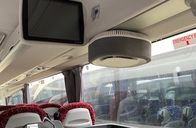 The Aura Air system, shown here installed on a bus, was found to be more than 99.9% effective in disinfecting indoor air and catching particles that can cause sickness.  (photo credit: AURA AIR)