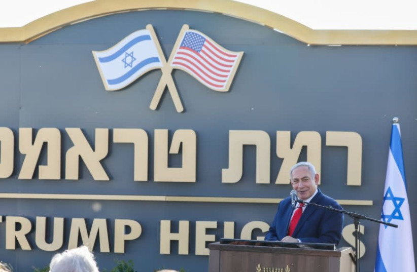 Prime Minister Benjamin Netanyahu introduces the new Golan Heights community of Ramat Trump, or Trump Heights, in honor of President Donald Trump to thank him for recognizing Israel's sovereignty over the strategic territory, June 16, 2019. (David Cohen/Flash90) (photo credit: DAVID COHEN/FLASH 90)