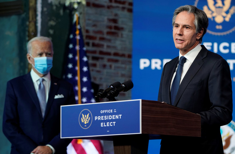 Antony Blinken, US President-elect Joe Biden's nominee for secretary of state, speaks as Biden announces his national security team at his transition headquarters in Wilmington, Delaware on November 24, 2020. (photo credit: JOSHUA ROBERTS / REUTERS)