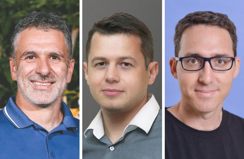 (L-R) eTeacher CEO Yariv Binnun, Eastern Peak CEO Alexey Chalimov, and Appniv CEO Ido Niv (photo credit: Courtesy)