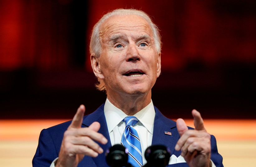 US President-elect Joe Biden delivers a pre-Thanksgiving address at his transition headquarters in Wilmington, Delaware, US, November 25, 2020.  (photo credit: REUTERS/JOSHUA ROBERTS/FILE PHOTO)