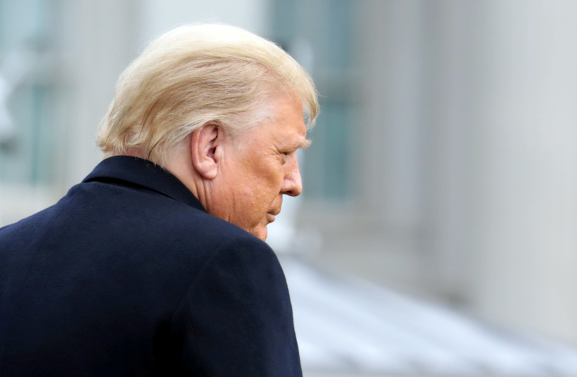 US President Donald Trump departs on travel to West Point, New York from the South Lawn at the White House in Washington, US, December 12, 2020. (photo credit: REUTERS/CHERISS MAY/FILE PHOTO)