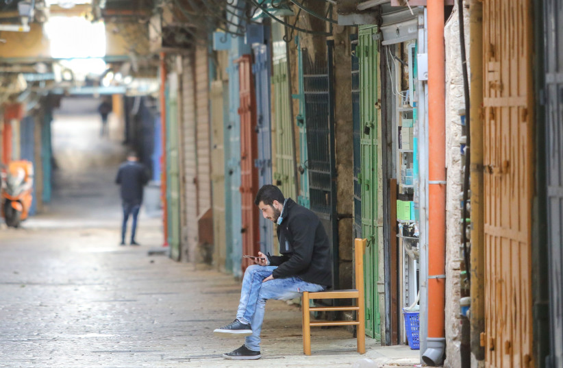 Jerusalem's usually busy Old City is seen virtually empty during Israel's third coronavirus lockdown. (photo credit: MARC ISRAEL SELLEM/THE JERUSALEM POST)