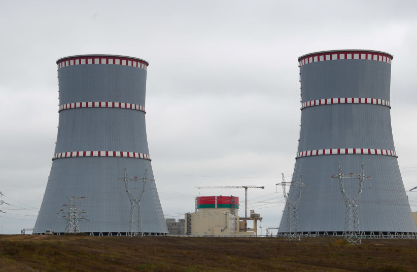 The very first Belarusian nuclear power plant, which will have two power-generating units, is seen during Belarus emergency services drills, near the town of Ostrovets, Belarus October 11, 2019.  (photo credit: REUTERS)