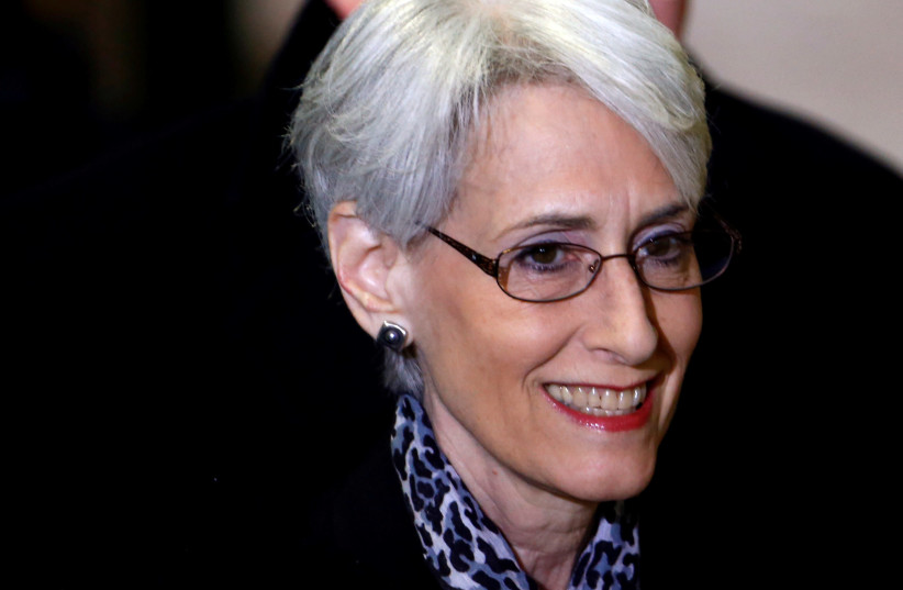 Wendy Sherman arrives for a meeting on Syria at the United Nations European headquarters in Geneva February 13, 2014 (photo credit: REUTERS/DENIS BALIBOUSE)