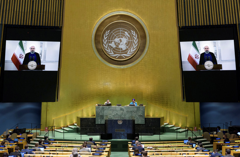 President of Islamic Republic of Iran Hassan Rouhani speaks virtually during the 75th annual UN General Assembly, which is being held mostly virtually due to the coronavirus disease (COVID-19) pandemic in the Manhattan borough of New York City, New York, US, September 22, 2020. (photo credit: UNITED NATIONS/HANDOUT VIA REUTERS)