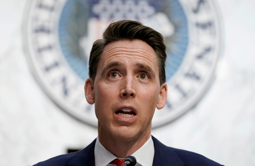 US Senator Josh Hawley speaks during the third day of the confirmation hearing for Supreme Court nominee Judge Amy Coney Barrett  (photo credit: REUTERS)
