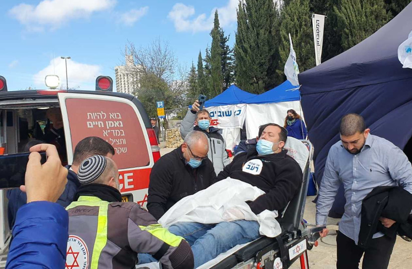 Samaria Regional Council head Yossi Dagan on his way to the hospital after fainting from hunger while protesting the government's failure to legalize the outposts, January 19, 2020 (photo credit: Courtesy)