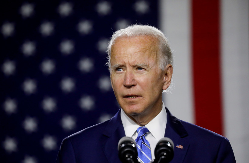 US President-Elect Joe Biden in this file photo from July 14 2020  (photo credit: LEAH MILLIS/REUTERS)