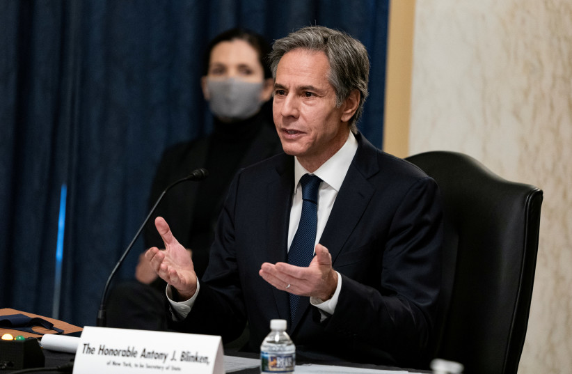 Antony J. Blinken, of New York, speaks during his confirmation hearing to be Secretary of State before the U.S. Senate Foreign Relations Committee at the U.S. Capitol in Washington, DC, U.S. January 19, 2021.  (photo credit: ALEX EDELMAN/REUTERS)