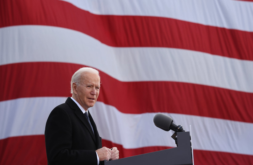 "President-elect Joe Biden delivers remarks at the Major Joseph R. ""Beau"" Biden III National Guard/Reserve Center in New Castle, Del., Jan. 19, 2021 (photo credit: CHIP SOMODEVILLA/GETTY IMAGES)"