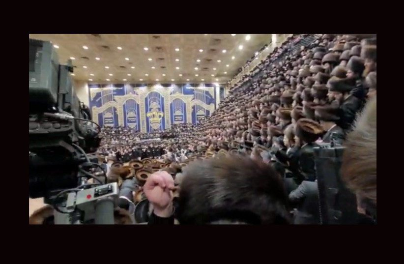 Thousands gathered for the wedding of the son of Rabbi Ben Zion Halberstam, grand rabbi of a faction of the Bobov Hasidic sect (photo credit: Courtesy)